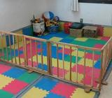 barandas tipo corral grande con su alfombra de espuma para bebe